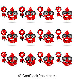 blood group icon with drop set in red illustration