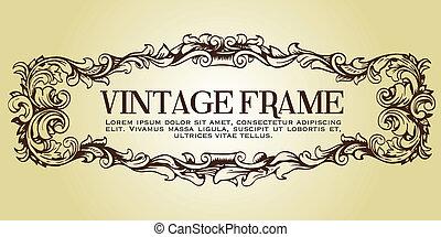 Vintage Frame - Floral Frame Vector.  Hand-drawn.