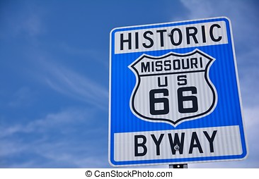 Historic route 66 highway sign in Missouri USA