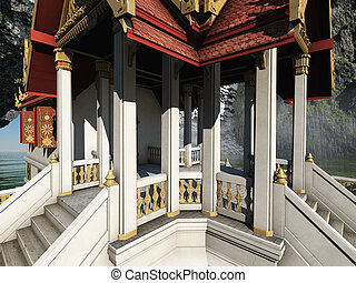 Buddhist temple in mountains 3d rendering - Buddhist temple...