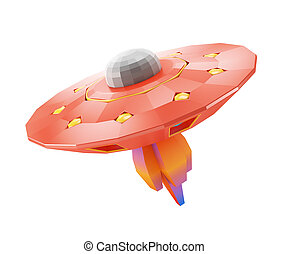Cartoon styled low poly ufo isolated on white background