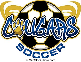 cougars soccer team design with ball and paw print for...