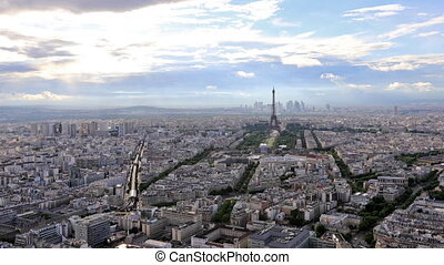 Tour Eiffel time lapse - Time lapse aerial view of Paris...
