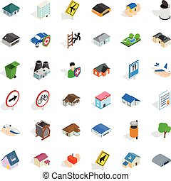 Town icons set, isometric style - Town icons set. Isometric...