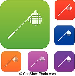 Fishing net set collection - Fishing net set icon in...