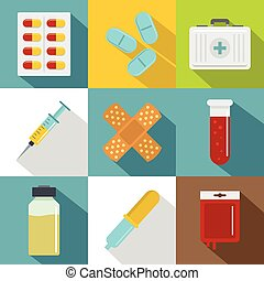 Drug forms icon set, flat style - Drug forms icon set. Flat...