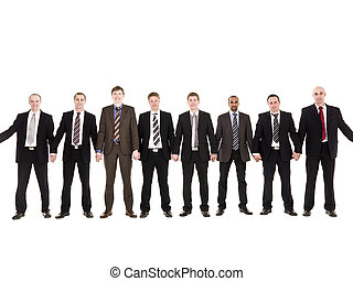 Men in a row isolated on white background