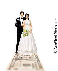 Wedding couple standing on a Dollar Bank Note - Wedding...