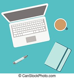 Laptop and notebook and office supplies top view. Vector flat icon with notebook, pc, pen, and a cup of hot coffee
