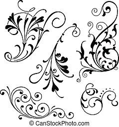 Floral Scrolls - Vector floral scroll ornaments Grouped for...