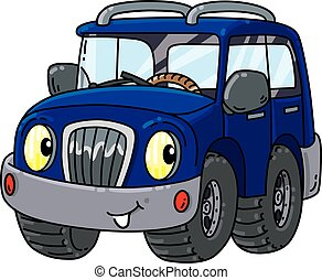 Funny offroader with eyes - Offroader or SUV coloring book...