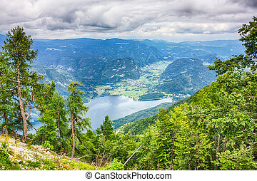 Lake Bohinj surrounded by mountains of Triglav national...
