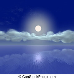 Moon rise by the ocean - Moon rise ocean view Suitable as...