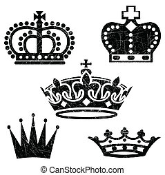 Grunge Crowns - Isolated Crown Icon Set. Colors are easily...