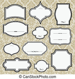 Vintage Frames - Vector frames Damask pattern included in...