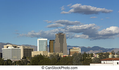 City of Tucson, AZ - Cityscape of Tucson downtown against...