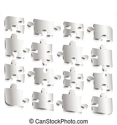 Metal Puzzle Pieces - Free standing, metallic puzzle pieces.