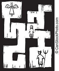 Life Maze - Child in a maze with Angel and Devil at either...