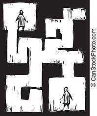labirinto, pessoas