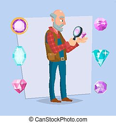 Jeweler Man Vector. Eyeglass Magnifier, Jewelry Gem Items....