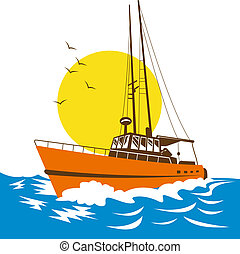 fishing boat on the ocean - Illustration of fishing boat on...