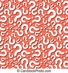 Question Sign Shadow Seamless Pattern - Question Sign With...