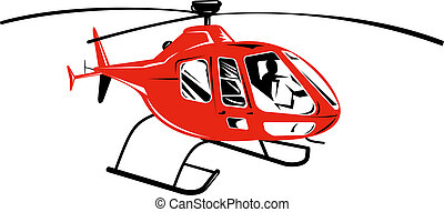 red helicopter isolated