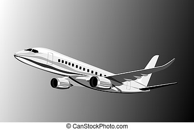 commercial jet plane side view