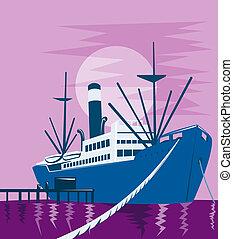 貨物, 船, ボート, つながれる, 港