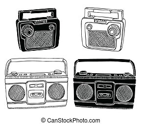 Old Radios - Hand drawn vector radios Easily editable colors...