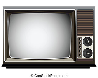 Vintage Television Set - Realistic Vector Illustration of an...