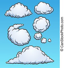 Cartoon clouds. Vector clip art illustration with simple...
