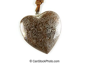 Wooden heart handcraft isolated on white