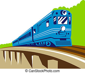 passenger train on the viaduct - Illustration of passenger...