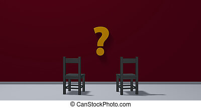 two chairs and question mark symbol - 3d rendering