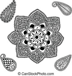 Flower Mandala and Paisley - Hand drawn Henna and Paisley...