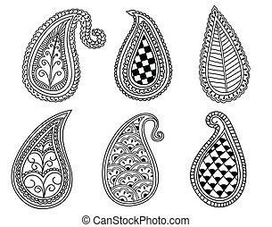 Paisley Elements - Hand drawn Henna and Paisley elements