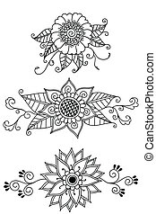 Henna Flowers - Hand-drawn, Henna floral elements. Colors...