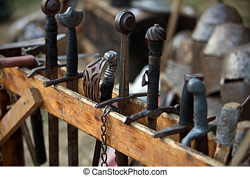 Arsenal of medieval swords - Arsenal of swords in a medieval...