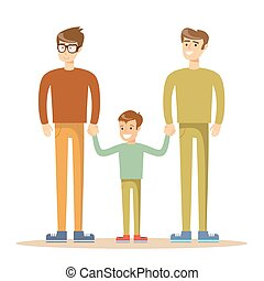 Happy gay men posing with their child. Stock flat vector...