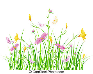 Floral background with pink flowers - vector floral...