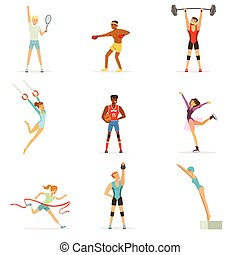 Athletic people doing various kinds of sports, people in...
