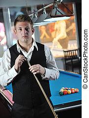 joven, hombre, juego, Profesional, billiard, juego