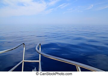 boat sailing blue calm ocean sea bow railing