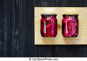 Red marinated beetroot in a glass jars - Canned homemade...