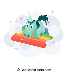 Vector unicorn flat image