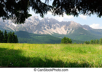 Mountains in Trentino Alto Adige - panoramic view of the...