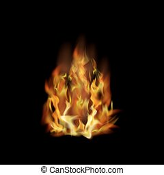 Flame Fire Isolated over Black Background - Flame Isolated...