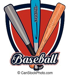 Isolated baseball emblem with a group of bats, Vector...