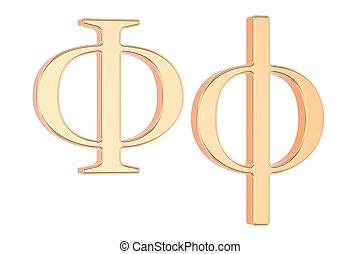 Golden Greek letter phi, 3D rendering - Golden Greek letter...